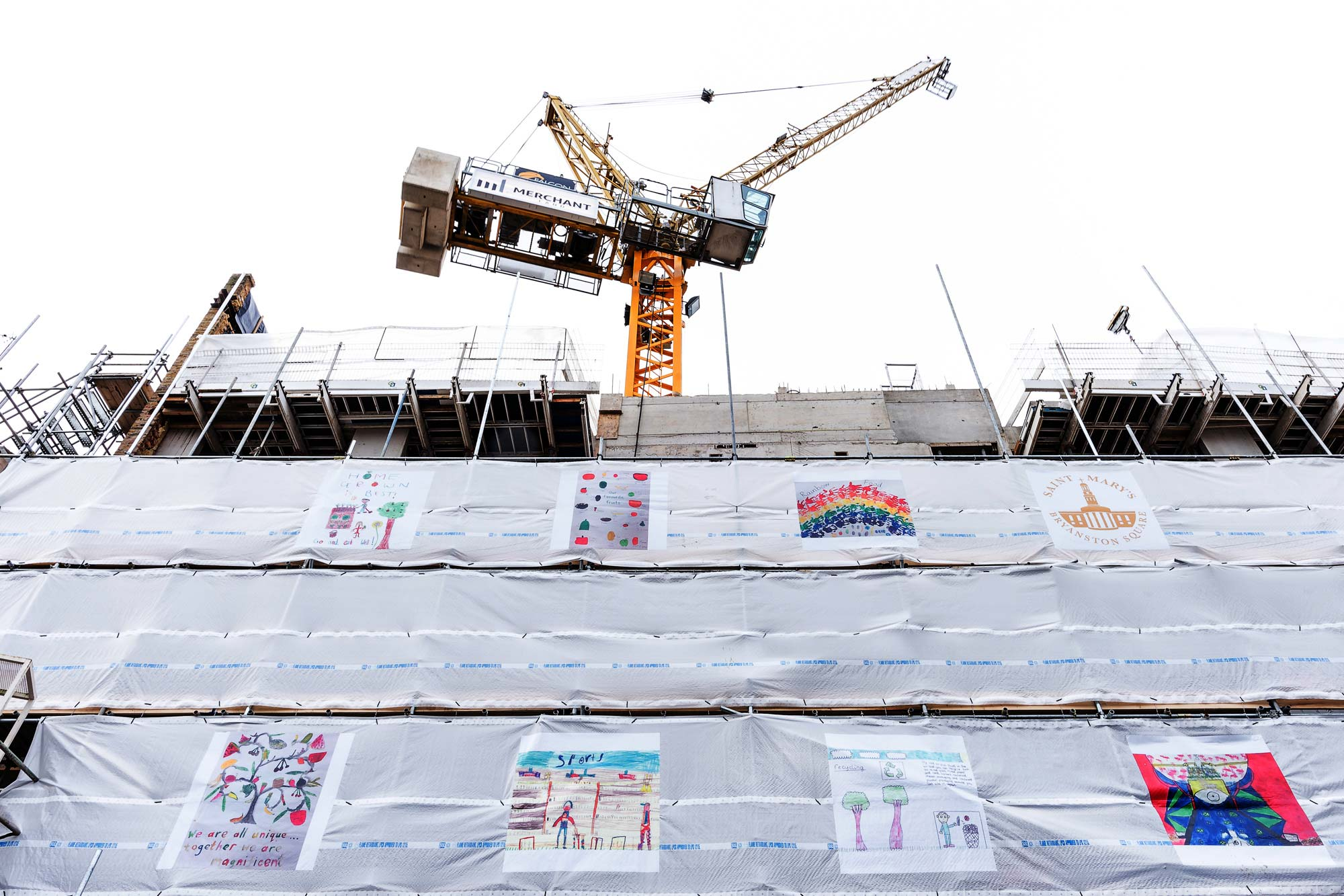 Primary students artworks on scaffolding