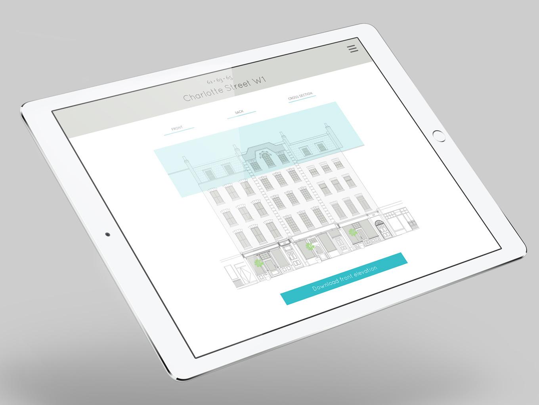 Charlotte Street website on iPad